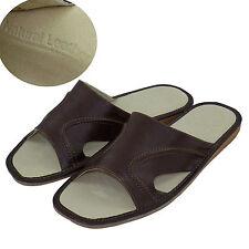 Men's Leather Slippers Shoes Sandals, Flip Flops, Brown Size 11 (EUR 45)