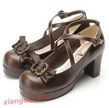 Womens Roman Mary Janes Round Toe Bowknot Block Heels Ankle Strap buckle Lolita