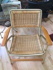 Vtg TELESCOPE Mid Century Modern Folding Lawn Chair Rattan Wood Arm Gold Alum d