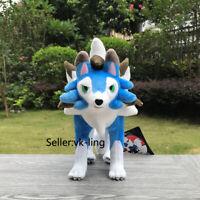 "Blue Shiny Dusk Lycanroc 9.5"" Plush Game Center Go Stuffed Toy Cartoon Soft Doll"
