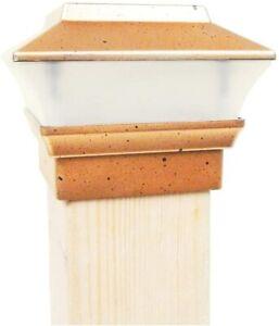 (2 Pk) Copper Outdoor Garden 4 x 4 Solar LED Post Deck Cap Square Fence Lights