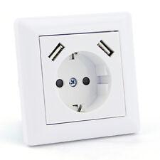 230 V Schutzkontakt Steckdose 2 x USB Ladegeräte passend für Jung AS 500 Weiß