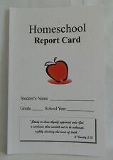 Homeschool Report Cards, pk of 10, w. Bible Verse, Use w.ABeka, BJU, Apologia