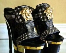 New $2,400 Versace Stud Medusa Black Leather Triple Platform Sandals Heels 8 38