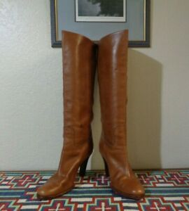RALPH LAUREN COLLECTION PURPLE LABEL TAN LEATHER KNEE HIGH HEELED BOOTS 10B