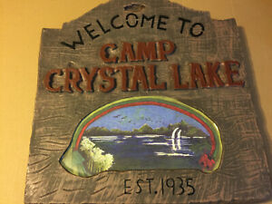 HALLOWEEN WELCOME TO CAMP CRYSTAL LAKE EST. 1935 FRIDAY THE 13TH LARGE PLASTIC S