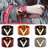 EE_ Women Wide V Leather Bracelet Bangle Punk Cuff Bracelet Wrap Wristband Utili