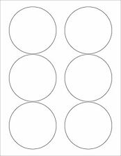 "6 SHEETS 3-1/3 ROUND CIRCLE BLANK WHITE MATTE STICKERS LABELS~8-1/2""X11 SHEETS"