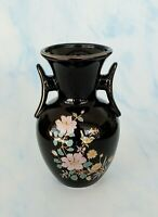 Vintage Made in Japan Black Mini Vase with Hand Painted Flowers *STUNNING*
