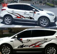 2x Car Styling Side Body Flame Dragon Totem Vinyl Film Decal Stickers w/ Letters