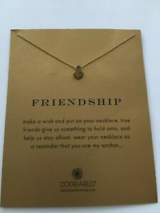 "Dogeared* Friendship Weathered Anchor - 16"" Gold Chain Necklace *New*"