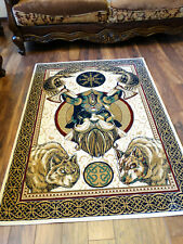 Viking Odin Woven Wall Tapestry Area Rug Helm of Awe Aegishjalmur Norse God Ring