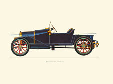 Canvas Print Vintage Car Poster Illustration - BUGATTI 1910 (TYPE 13)