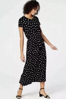 J.Jill Womens S Wearever Collection Smocked Waist Black Leaf Print Ginkgo Dress