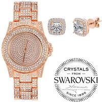 Luxury Men's Hip Hop Iced Lab Crystal Diamond Metal Band Dress Club Wrist Watch