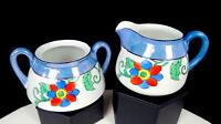 "MEITO CHINA JAPAN BLUE LUSTRE BAND FLORAL PAINTED 2 7/8"" CREAMER & SUGAR BOWL"