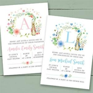 40 Peter Rabbit personalised christening invitations baptism naming day birthday