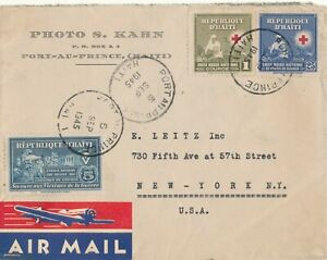 HAITI # 325, 328, ZZ 2 AIRMAIL COVER TO USA (1945)