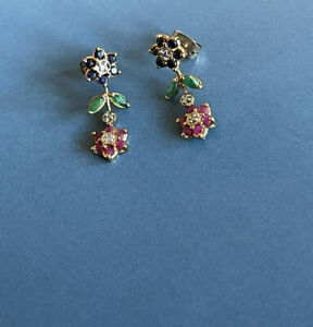 9ct Yellow Gold Diamond Ruby Emerald Sapphire Earrings Flower Studs