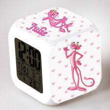Reveil cube led lumière nuit clock panthère rose personnalisé prénom réf 20
