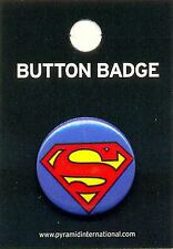 Superman Logo 25mm Button Pin Badge Official Carded