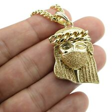 "Masked Jesus Gold Stardust Mask Pendant 14k Gold Plated 30"" Cuban Chain Necklace"