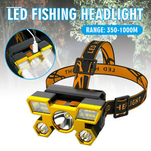 5 Cob Rechargeable Led Headlight Waterproof Flashlight Head-mounted Camping Lamp