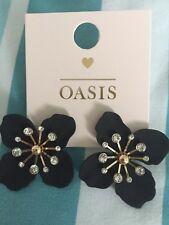 Earrings Brand New Oasis Black Flower