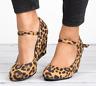 Womens Roman Buckle Heels Round Toe Casual Mid Wedge Leopard Print Retro Shoe Sz