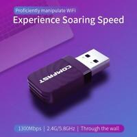 COMFAST 1300Mbps USB WiFi Adapter Dongle Card Wireless Network Laptop Desktop PC