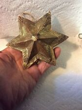 FANTASTIC BIG ANTIQUE GERMAN GOLD DRESDEN STAR CHRISTMAS ORNAMENT