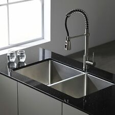 KRAUS 33 Inch Undermount 50/50 Double Bowl 16-Gauge Stainless Steel Kitchen Sink