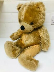 """Vintage Straw Filled Jointed Teddy Bear ~ Big Head Ted ~ 24"""" 1950 60s"""