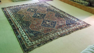 LARGE ANTIQUE c. 1920 QASHQAI RUG 8ft x 10ft