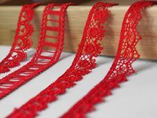 50ct./Meter 2 Meter hochwertige Ätzspitze Borte Spitze Band Spitzenborte rot DIY