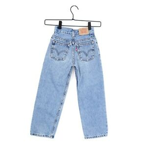 """Vintage Levi's 550 Relaxed Fit Distressed Youth Boys 7 Slim Waist 19"""" Red Tab"""