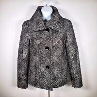Talbots Wool Blend Jacket Blazer Womens 2 S Black White Tweed Metallic Thread