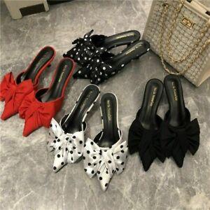 Women's Korean-style Pointed-Toe Polka Dot Thin Heeled Semi-high Heeled Slipper