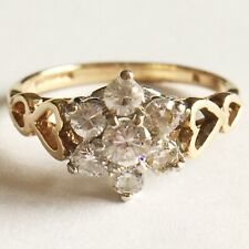 Beautiful Vintage 9ct 375 Yellow Gold Cluster ring English Hallmark Free P&P