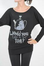 NORTHLAND luxury black batwing blouse embellished with Swarovski UK 8 / 10