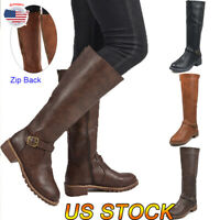 US Women Ladies Knee High Riding Boots Low Heel Flat Wide Mid Calf Buckle Shoes