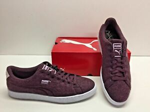 Puma Basket Classic Embossed Wool Deep Purple Fashion Sneakers Shoes Mens 10.5