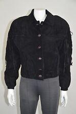 Tannery West Black Genuine Suede Fringe Jacket Full Lining Size S On Sale
