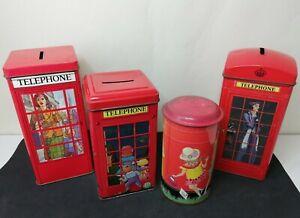 4 vintage money tins  incl- Ian Logan designs 1980s Telephone boxes & postbox