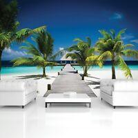 Vlies Fototapete Strand Meer Karbik Palmen Wohnzimmer Tapete XXL Landschaft 19