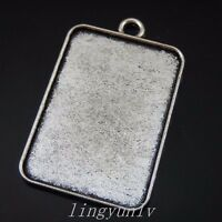 16 Pieces Vintage Silver Alloy 33x23mm Rectangle Cameo Setting Pendants 50257