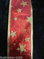 "Luxury Wire Edged & Satin Christmas Ribbon 2.5"" Wide (60 cm- 65cm) - 1m & 3m"
