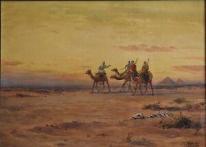 JOSEPH MORLEY-CA Realist-Signed WC/Gouache-Orientalist/Egypt/ Pyramid Camel Giza