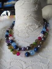 Gorgeous double Knotted Multi facet cut gemstone and grey pearl necklace, with m