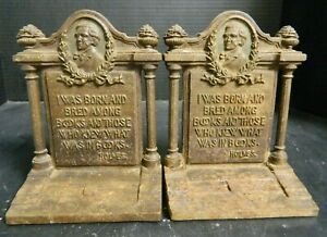 Antique Bradley & Hubbard Oliver Wendell Holmes Cameo Cast Iron Bookends Good